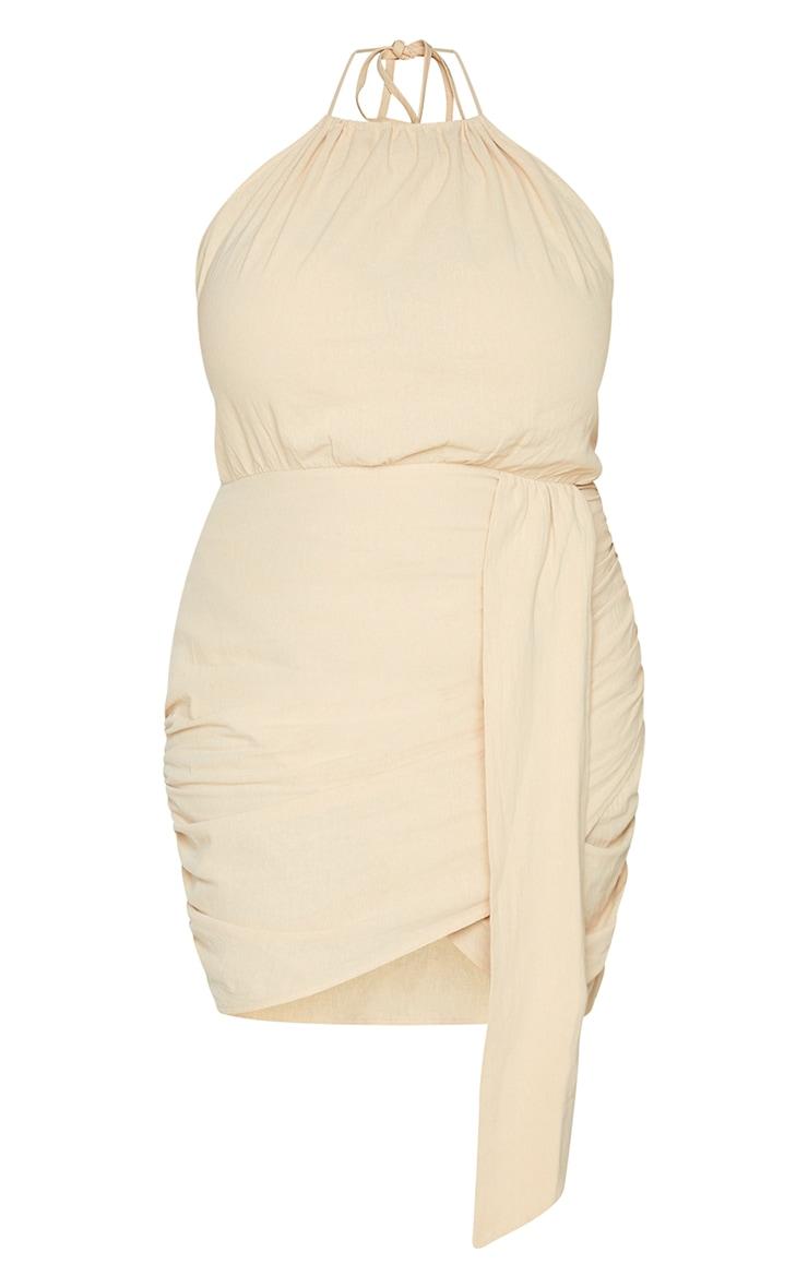 Plus Oatmeal Linen Look Drape Detail Bodycon Dress 5