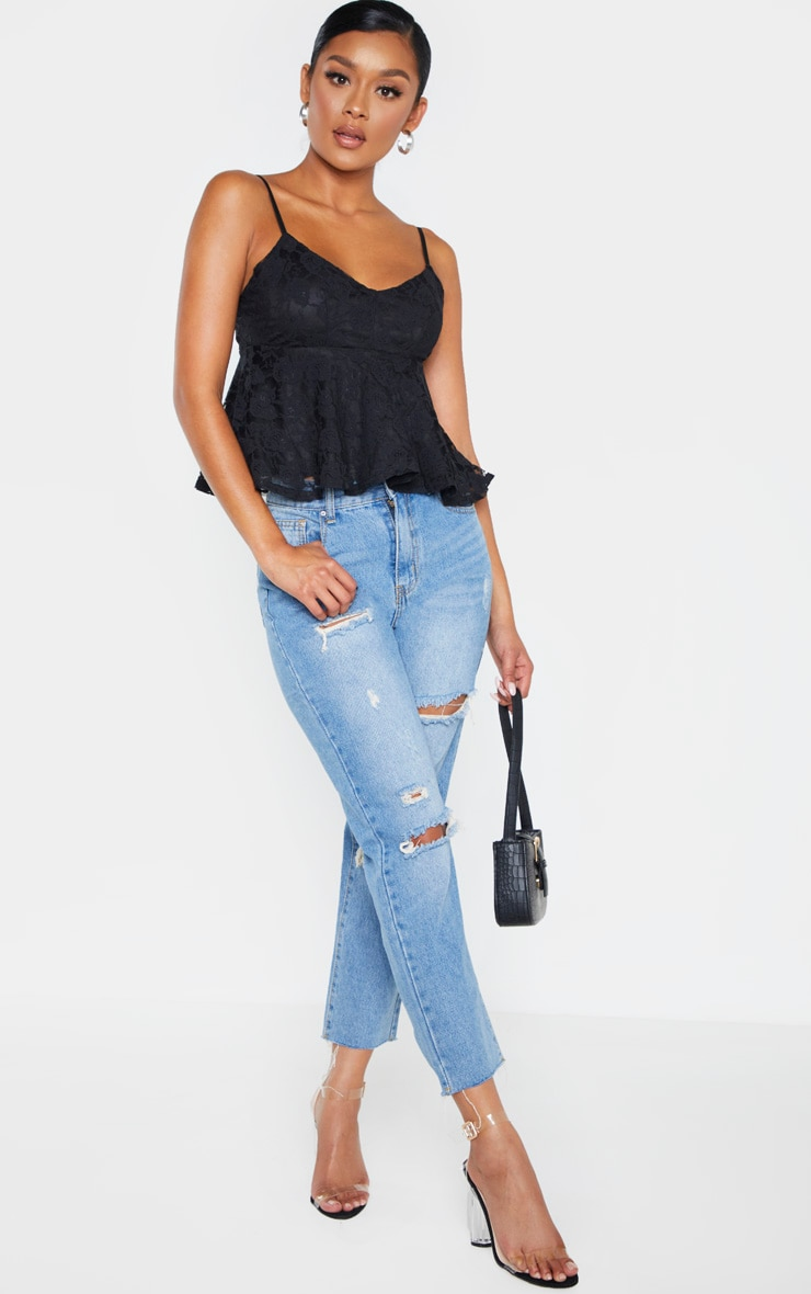 Black Lace Peplum Strappy Cami Top 4