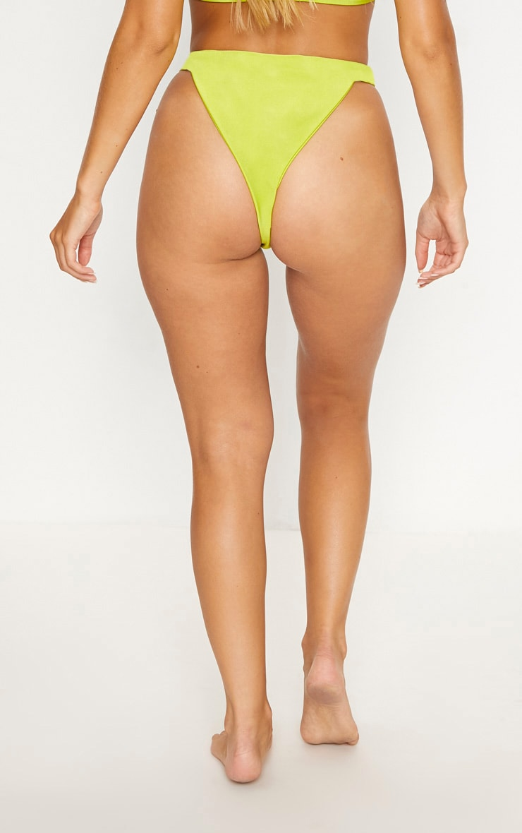 Lime Elasticated High Leg Bikini Bottom 4