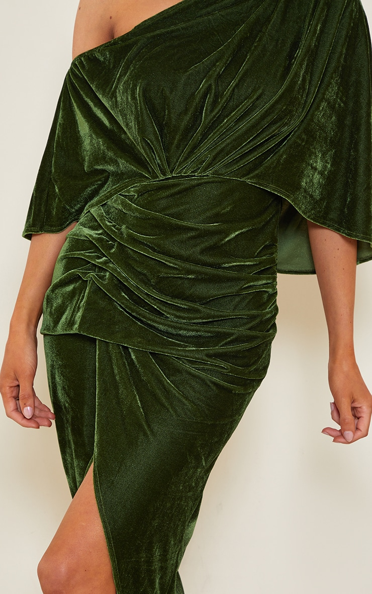 Olive Velvet Off Shoulder Drape Midi Dress 4