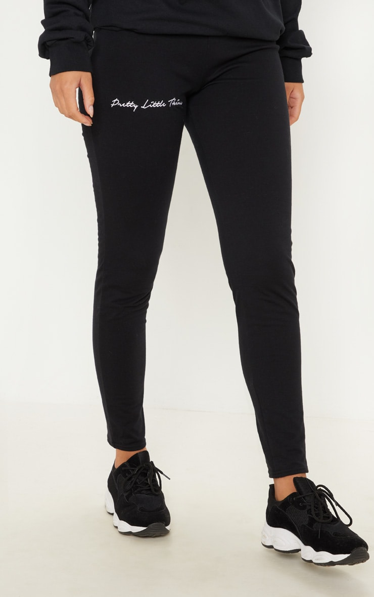 PRETTYLITTLETHING Black Embroidered Leggings 2