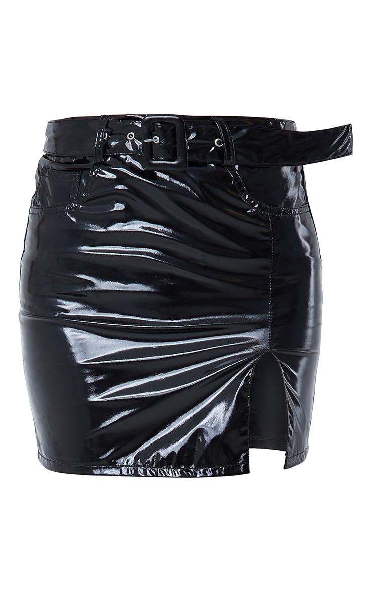 Black Vinyl Belted Mini Skirt 5