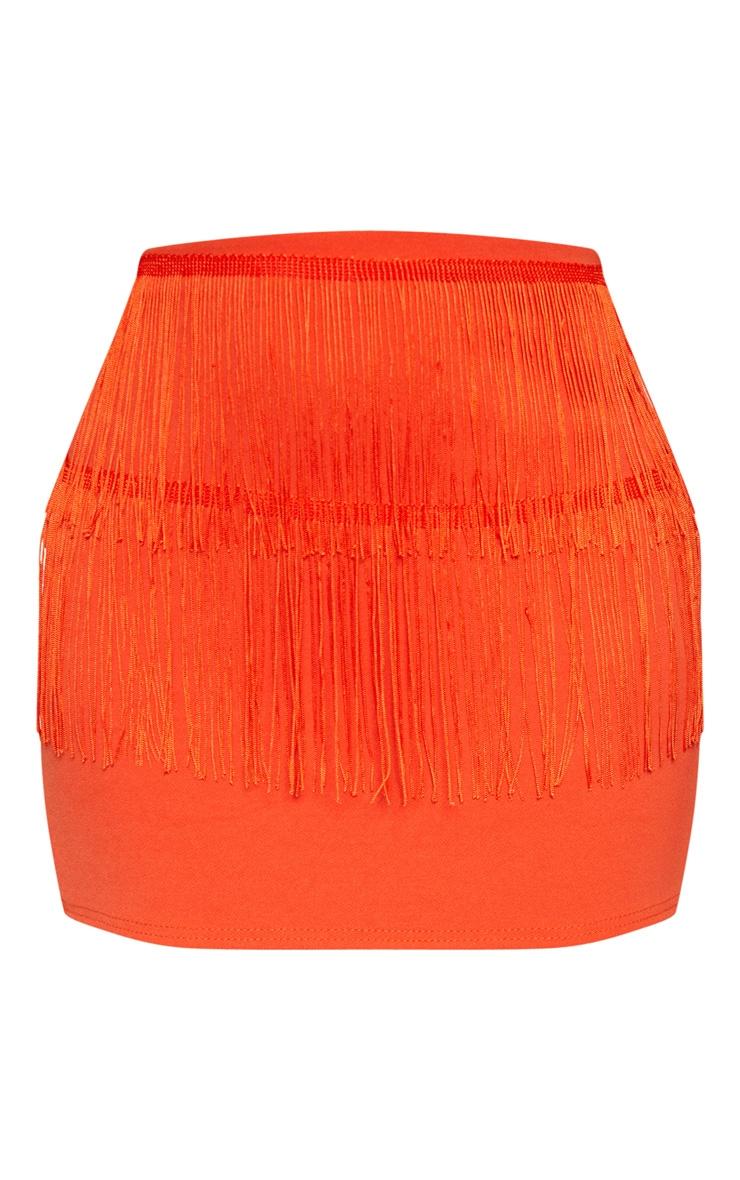 Bright Orange Extreme Mini Fringe Skirt 3