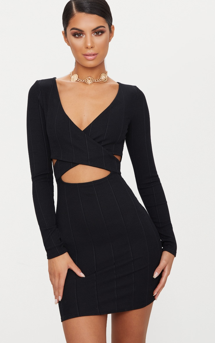 Black Bandage Cross Front Cut Out Detail Bodycon Dress 1