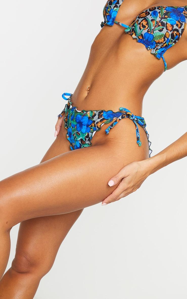 Blue Floral Animal Frill Edge Ruched Back Bikini Bottom 4