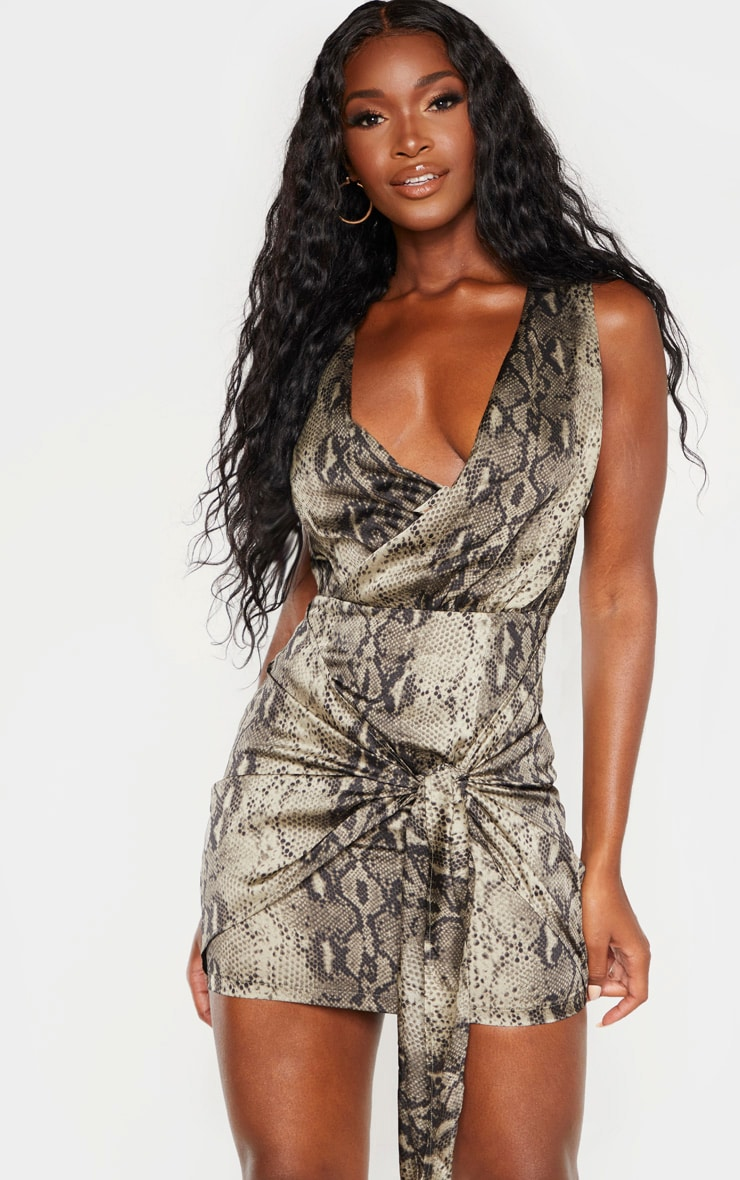 Multi Snake Print Sleeveless Drape Bodycon Dress 1