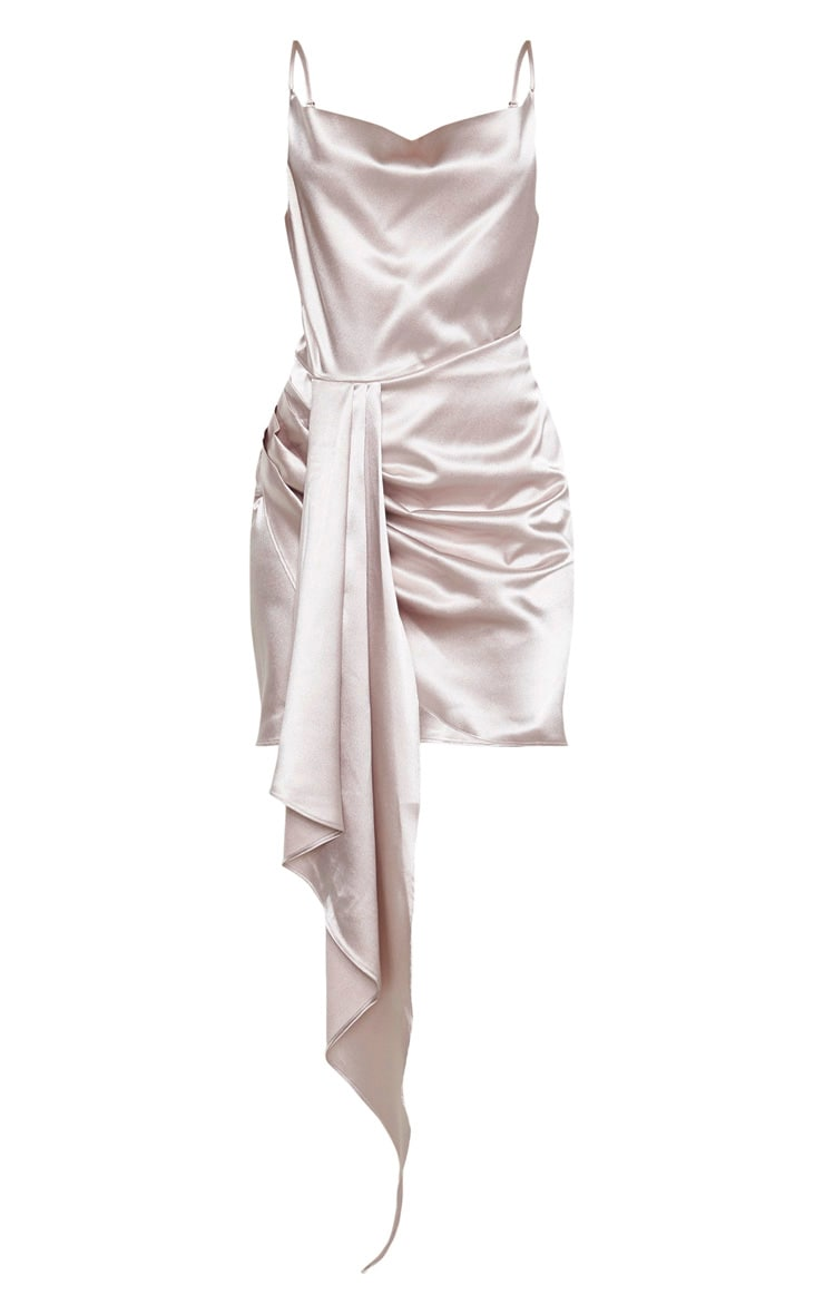 Ecru Satin Cowl Drape Bodycon Dress 3