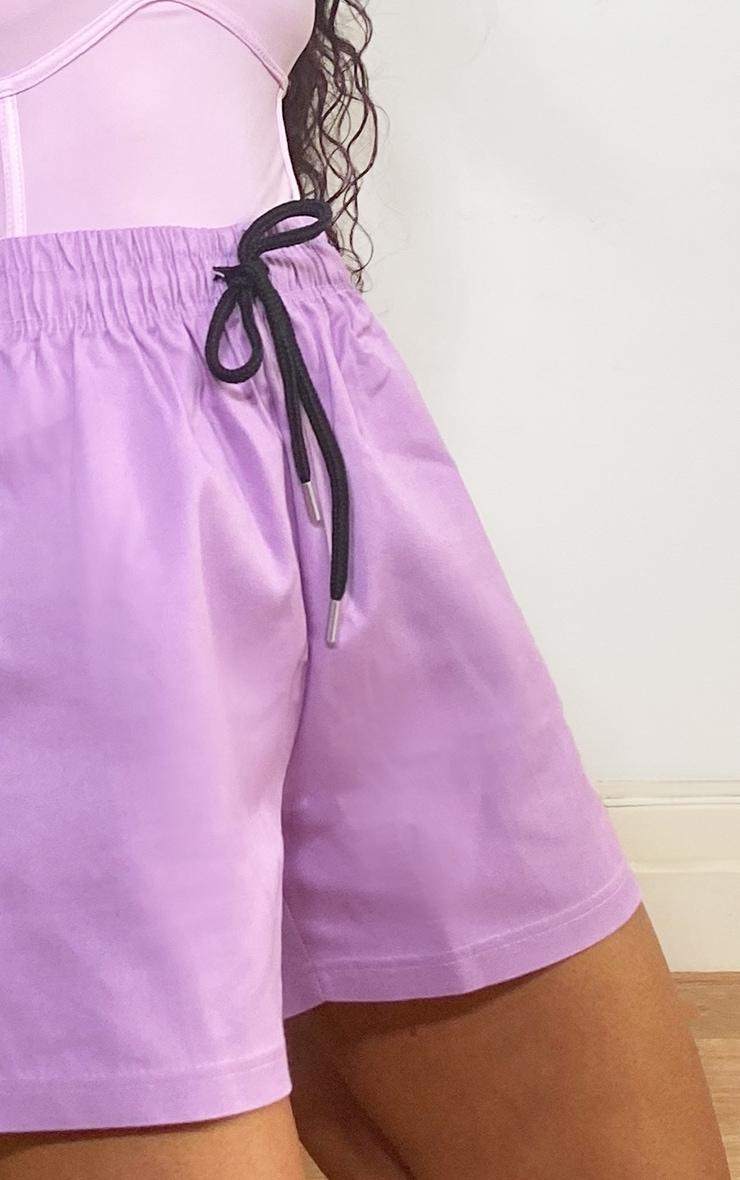 Lilac Twill Drawstring Waist Shorts 5