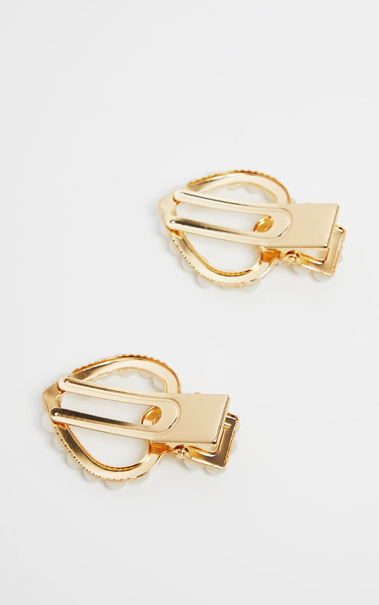 Gold Pearl Heart Shaped Two Pack Hair Clips 3