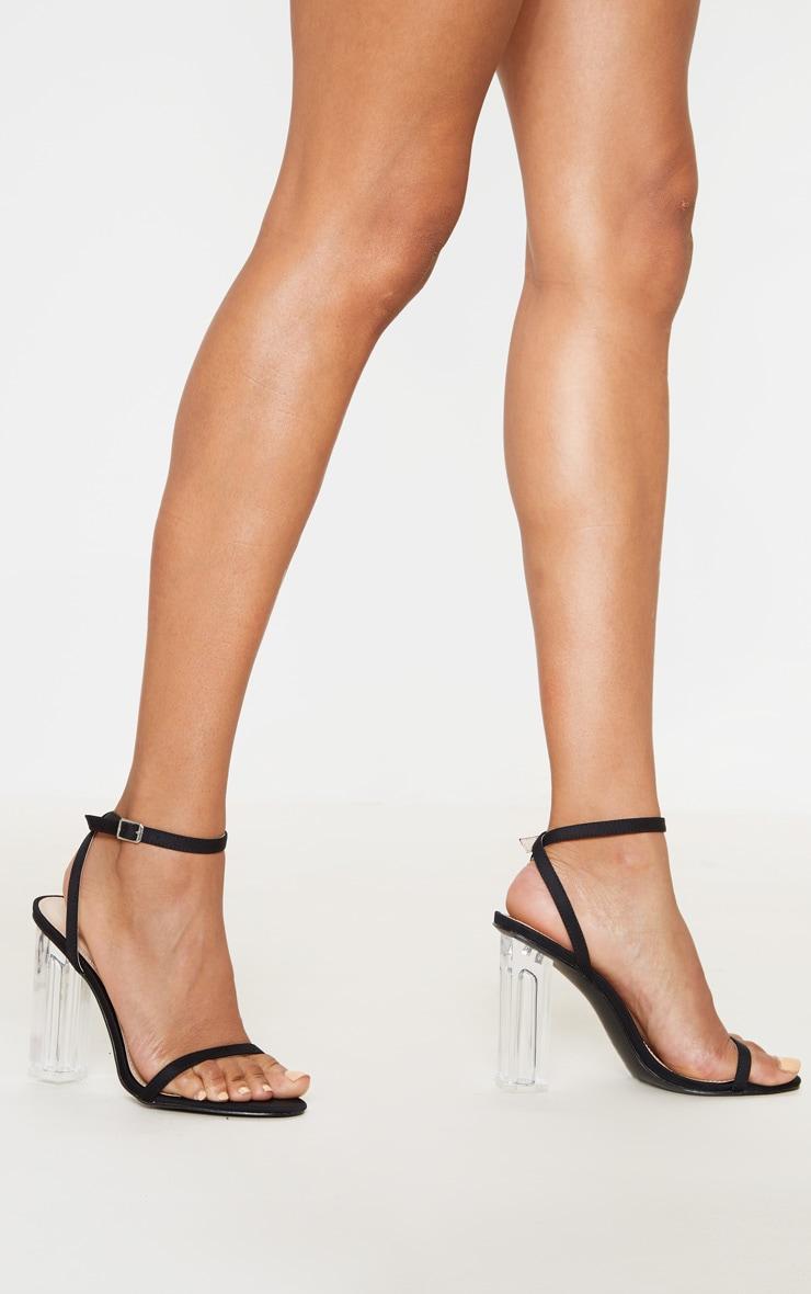 Black Lycra Clear Block Heel Sandal 1