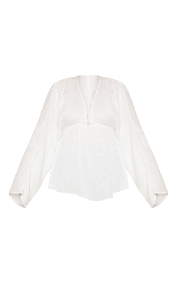 White Cheesecloth Plunge Ruched Sleeve Top 3