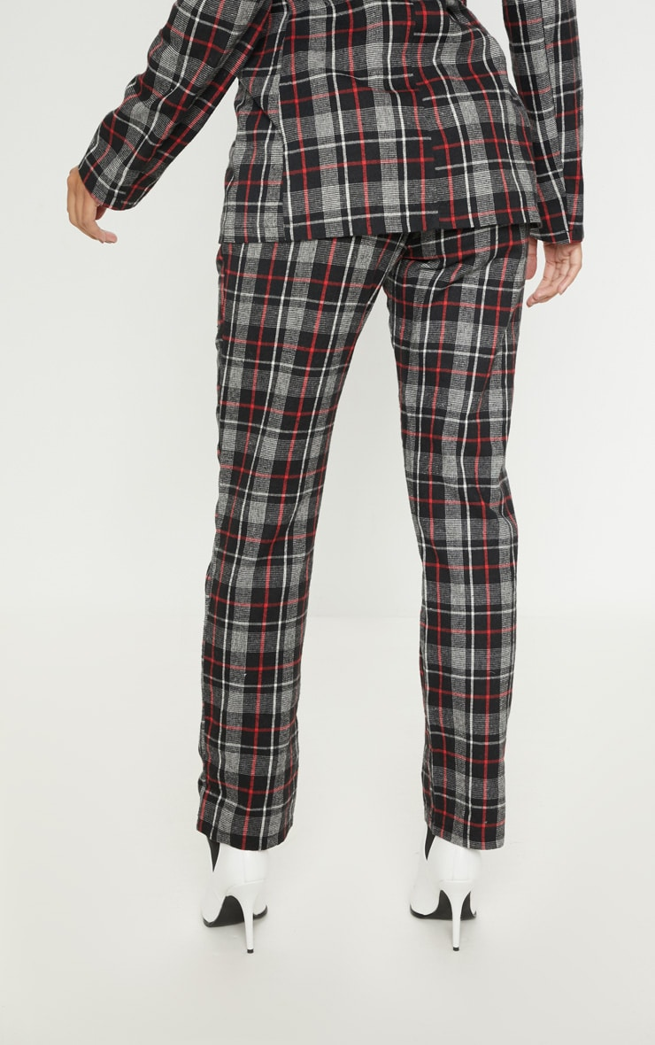 Black Check Woven Suit Pants 4