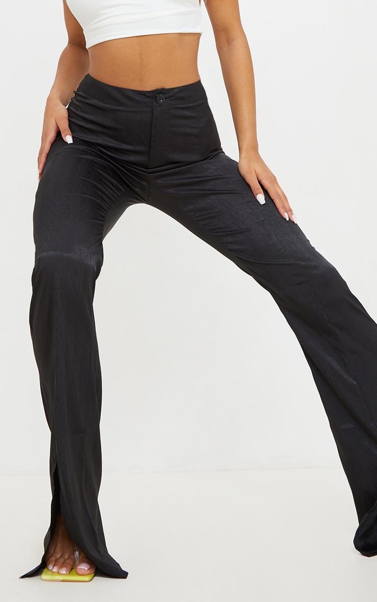 Black Woven Split Hem Flared Pants 4