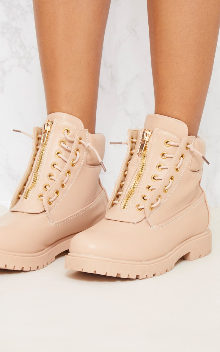 Michella Nude Zip Up Boots 6