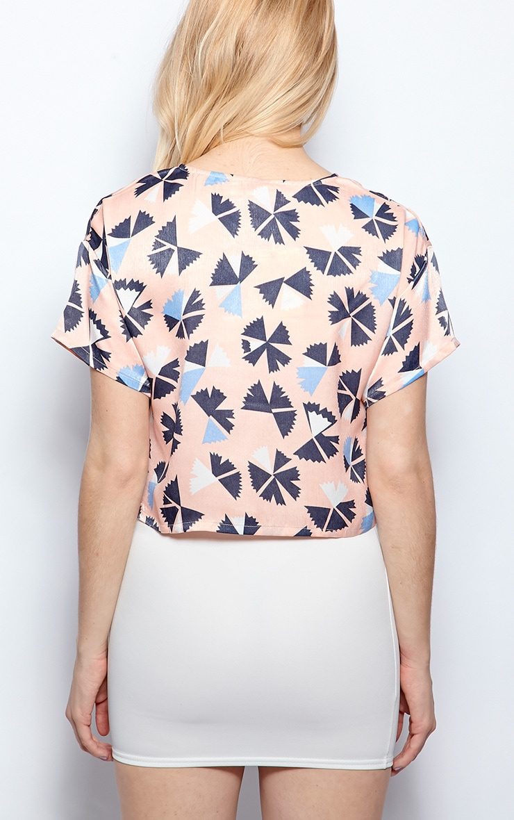 Natalie Pink Satin Abstract Print Crop Top 2