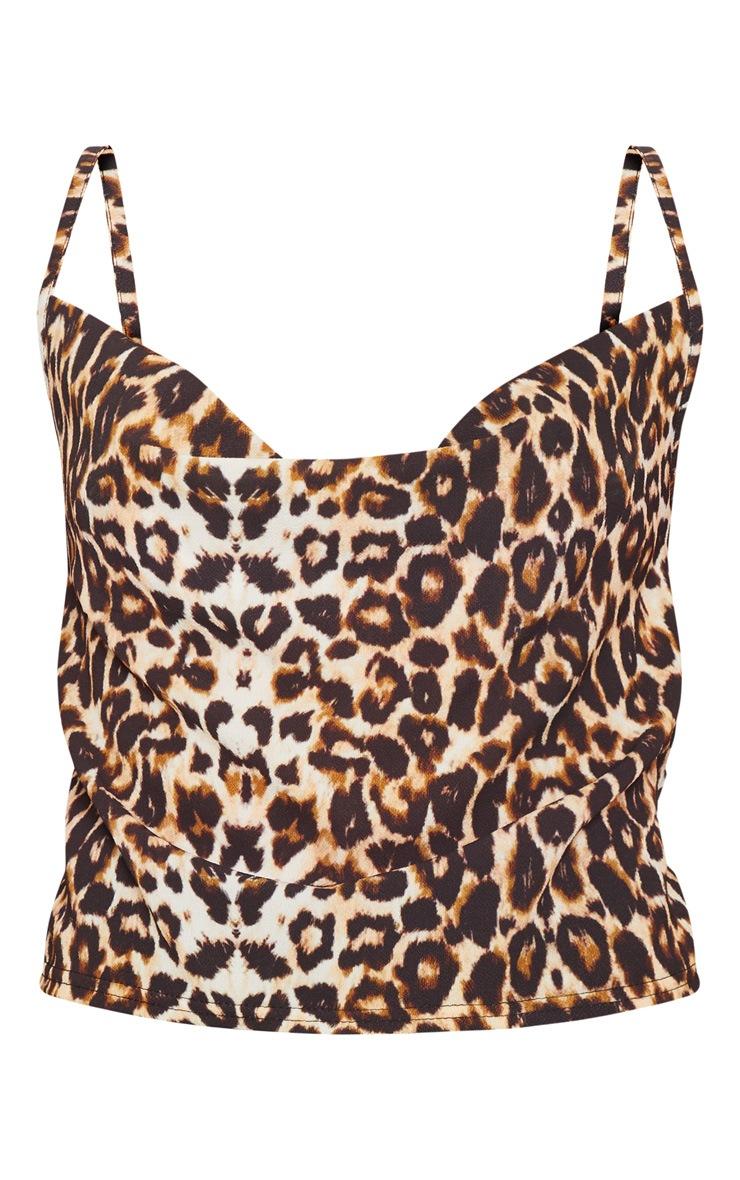 Tan Leopard Print Cowl Neck Top 3