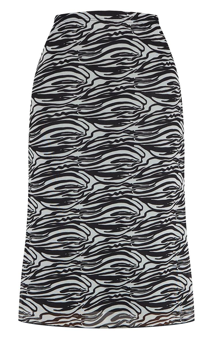 Black Zebra Mesh Midi Skirt 5