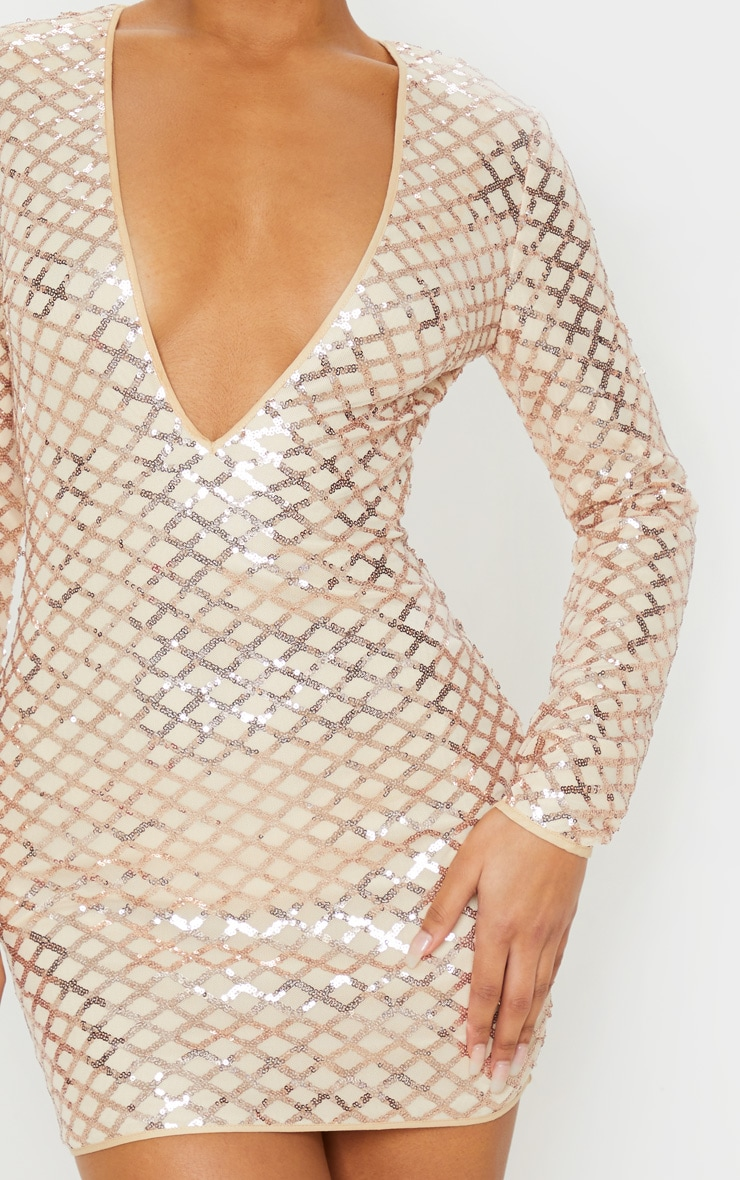 Rose Gold Patterned Sequin Long Sleeve Plunge Bodycon Dress 5