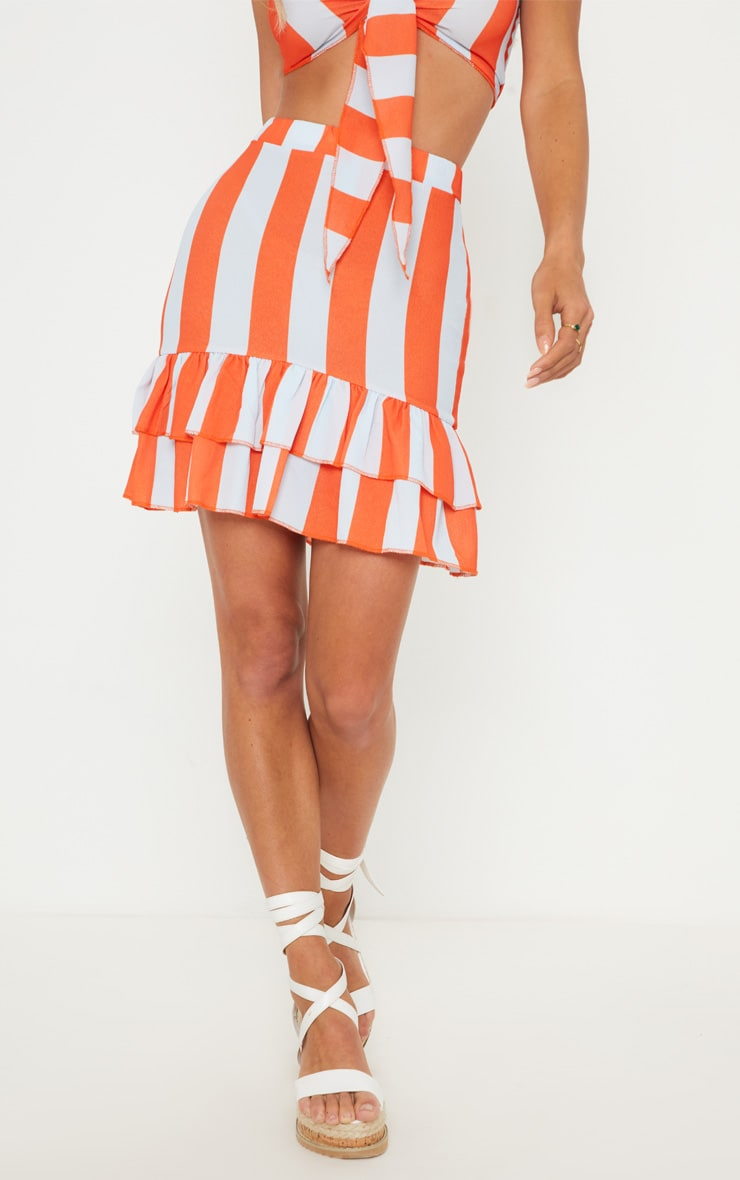 Multi Stripe Pebble Crepe Frill Hem Mini Skirt 2