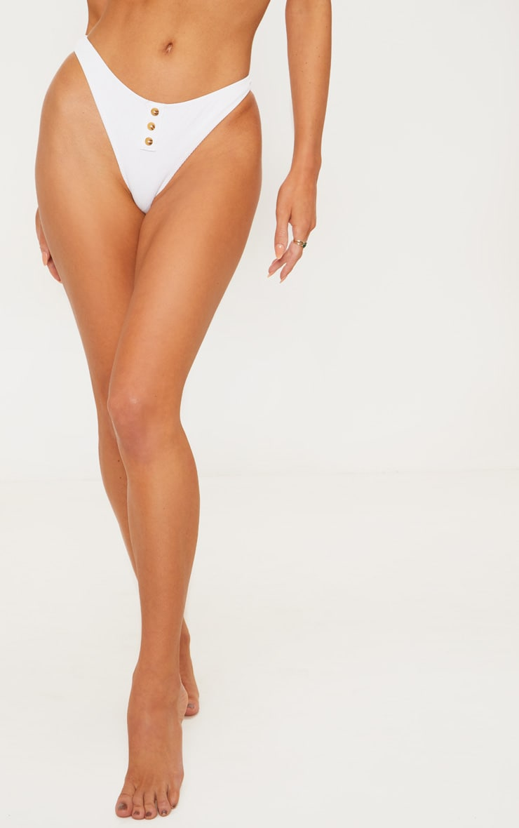 White Ribbed Button Bikini Bottom 2