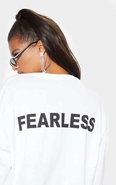 White Fearless Slogan Back Long Sleeve T Shirt