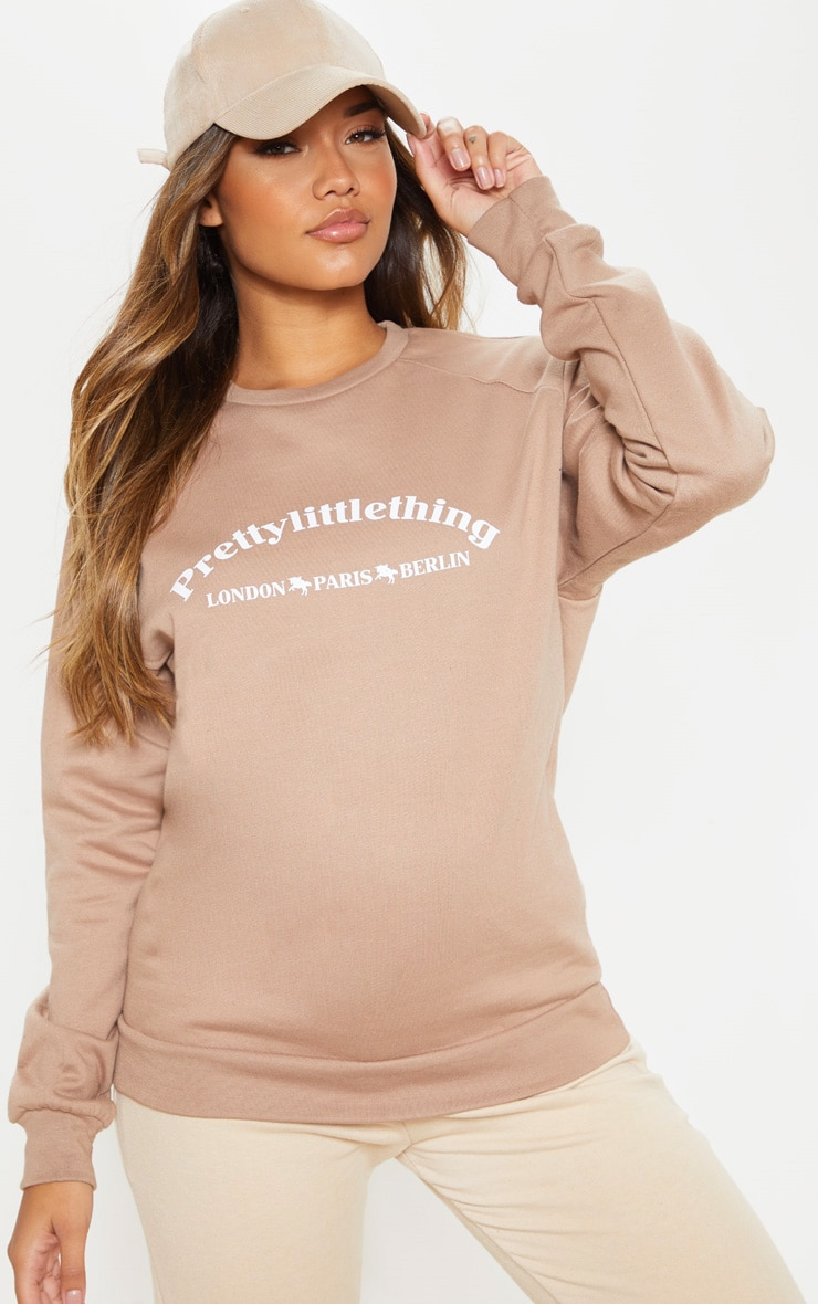 PRETTYLITTLETHING Taupe Europe Slogan Oversized Sweater 1