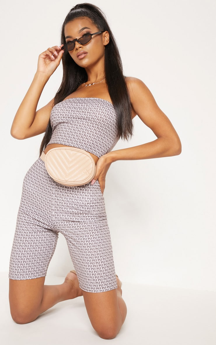 PRETTYLITTLETHING Taupe Printed Jersey Bandeau Crop Top 4