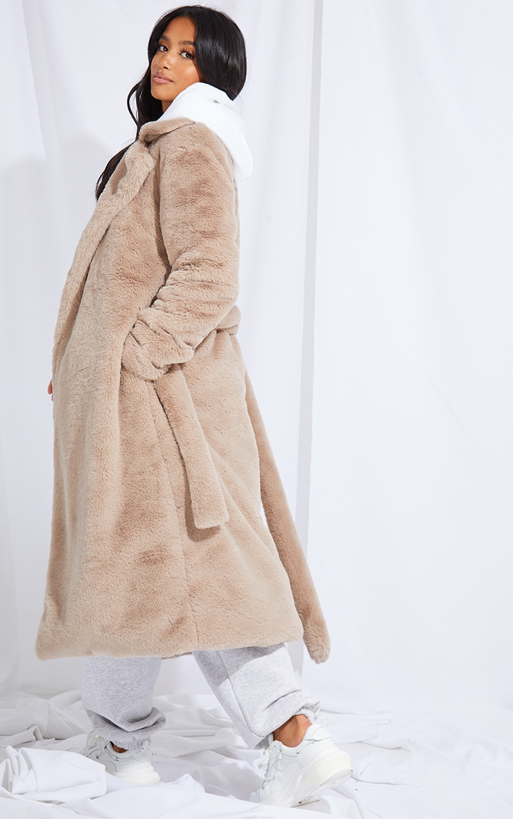 Petite Taupe Belted Faux Fur Coat 2