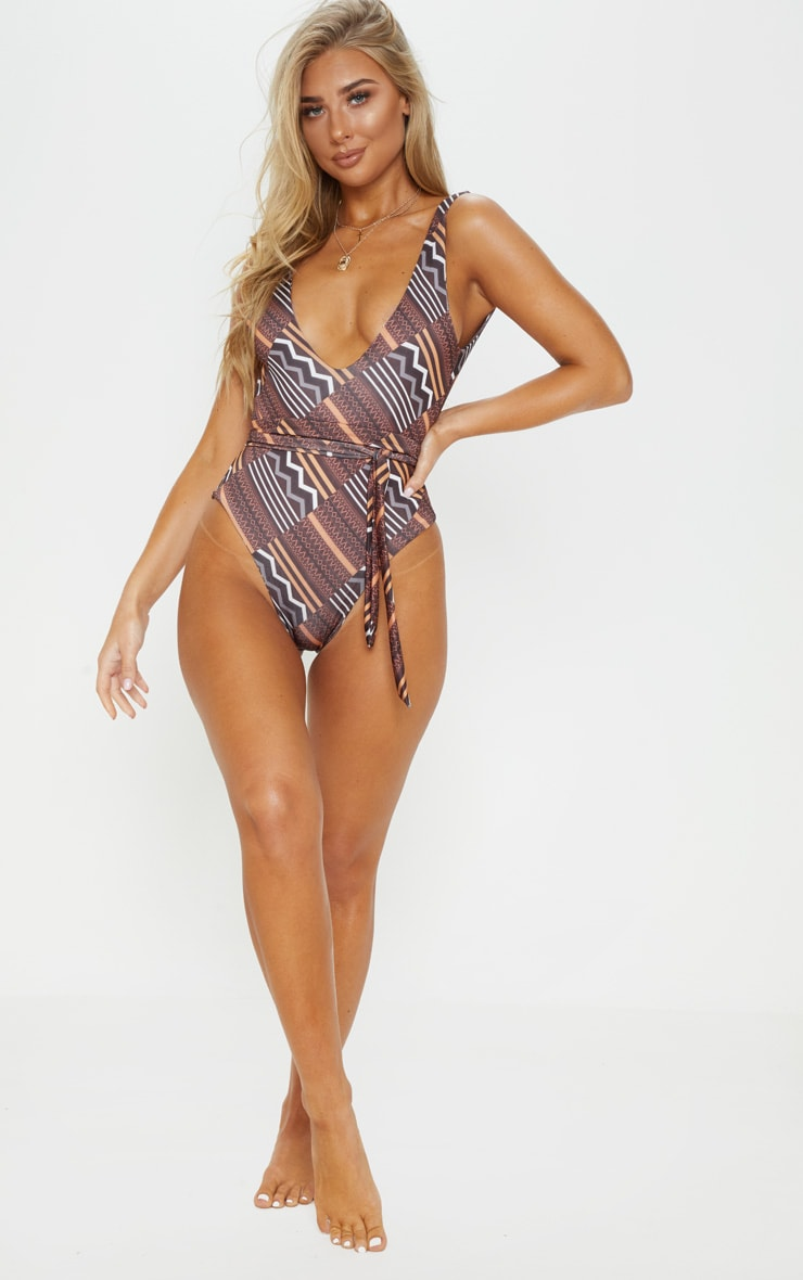 Brown Tribal Print Tie Waist Swimsuit 5