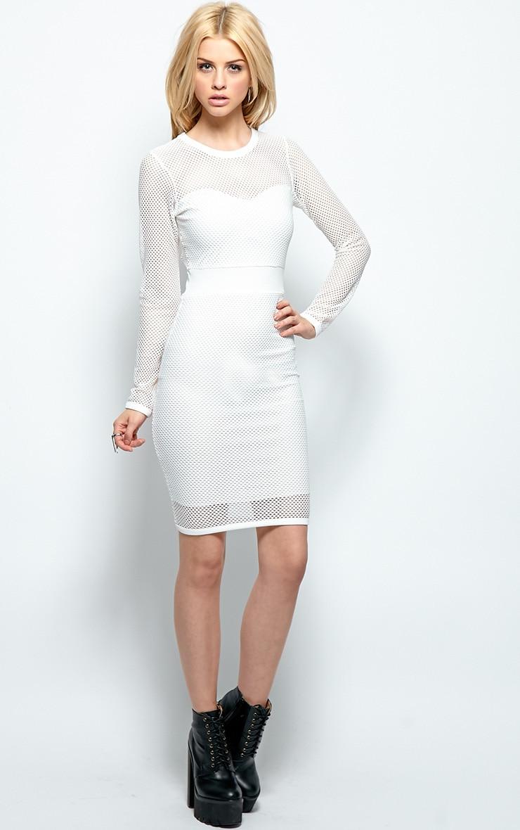 Brooke White Mesh Midi Dress 3