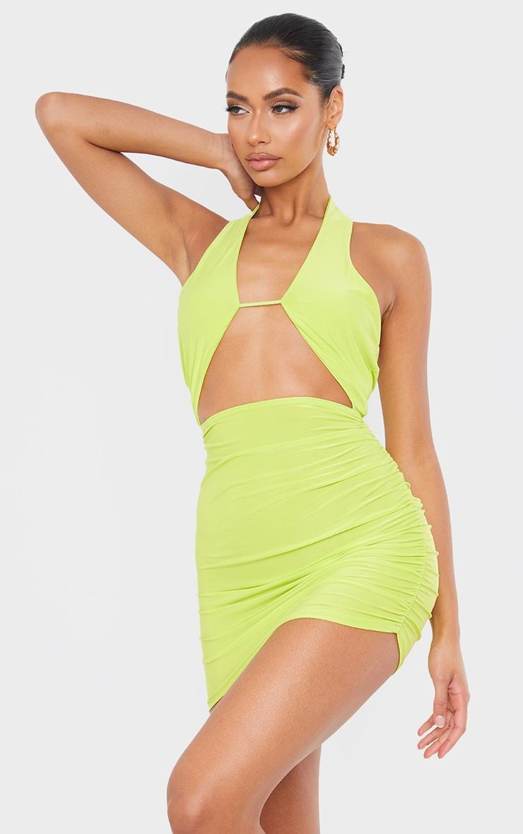 Lime Slinky Halterneck Bust Detail Bodycon Dress 3