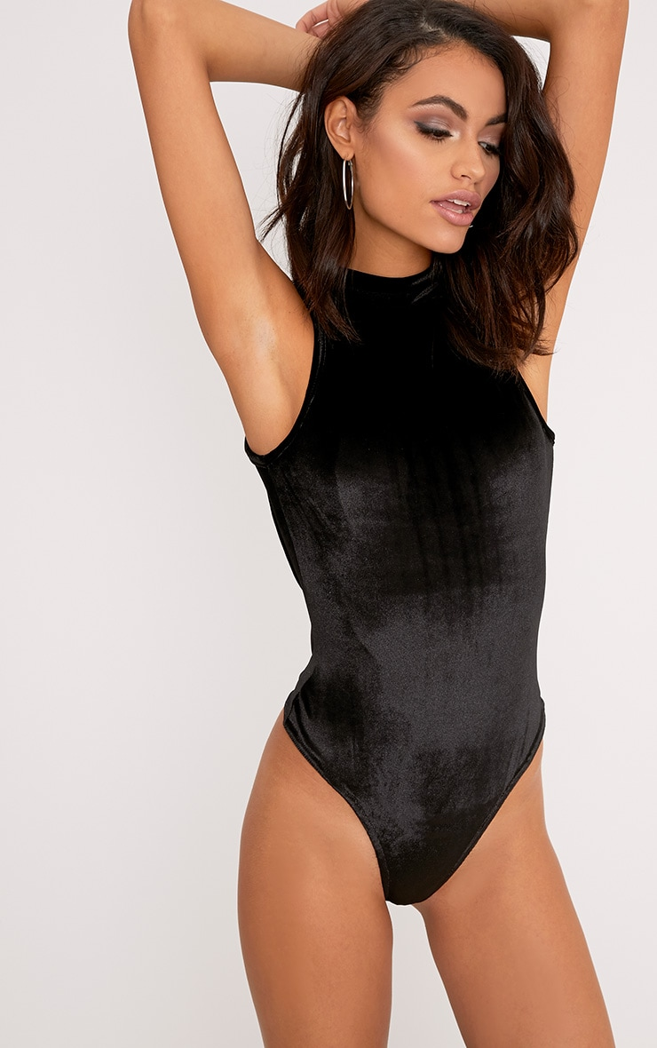 Aerin Black Velvet High Neck Open Back Thong Bodysuit 2