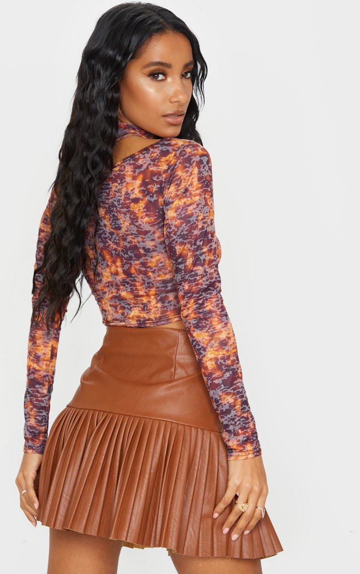 Brown Printed Jersey Cut Out Crop Top 2
