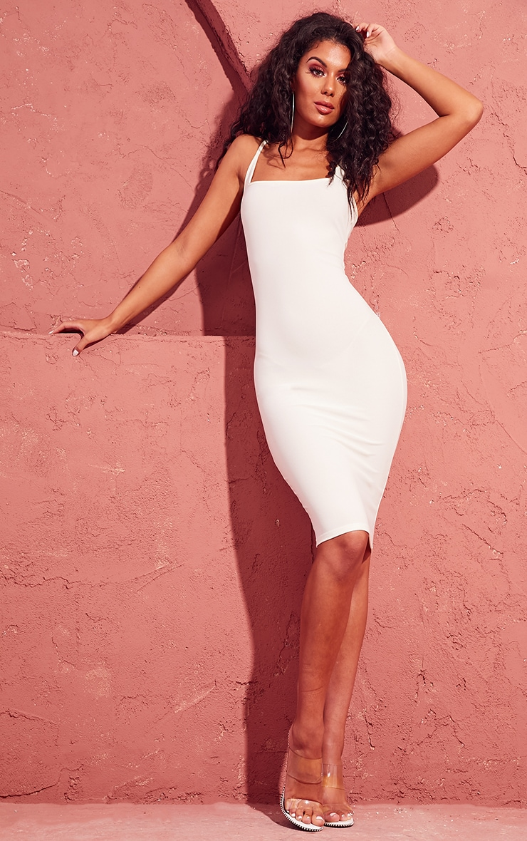 Cream Square Neck Strappy Midi Dress 1