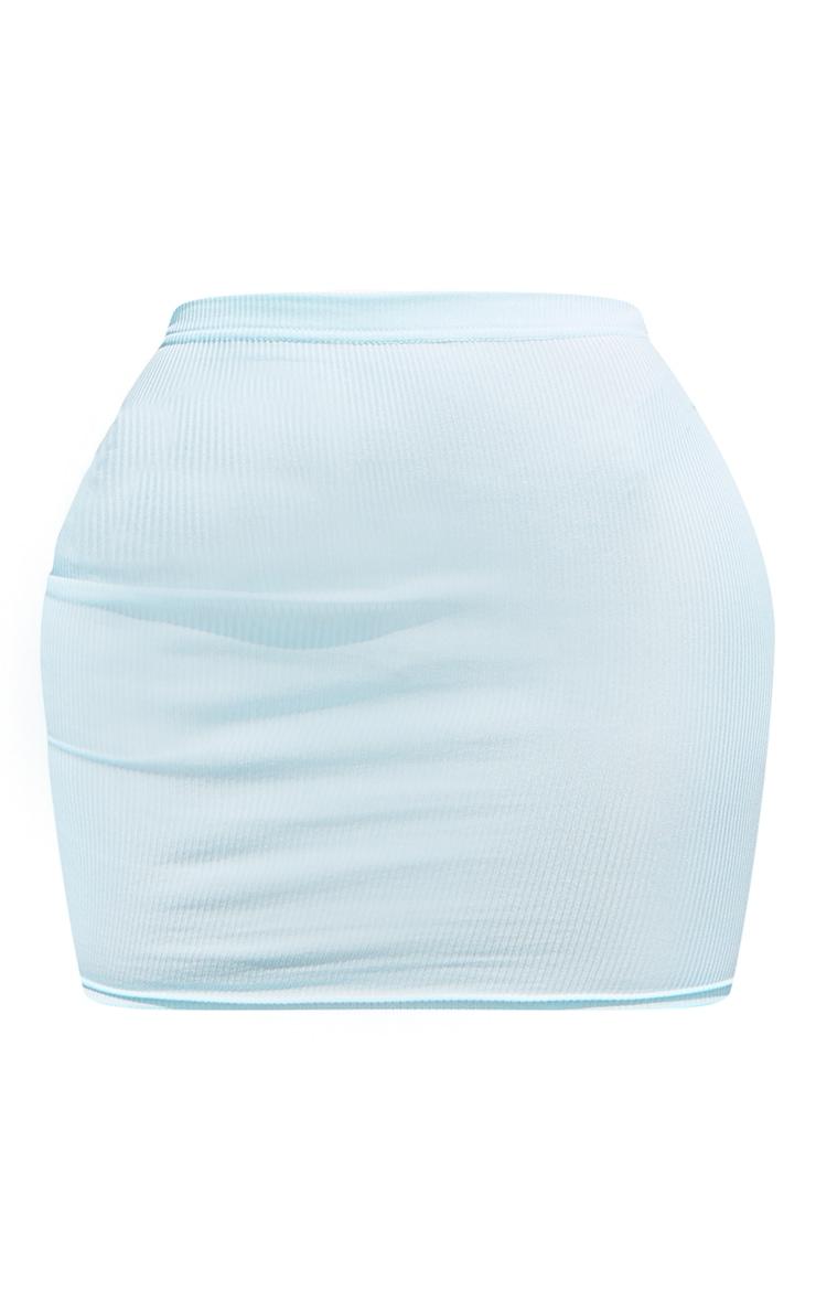 Shape - Jupe moulante bleu ciel côtelée 5