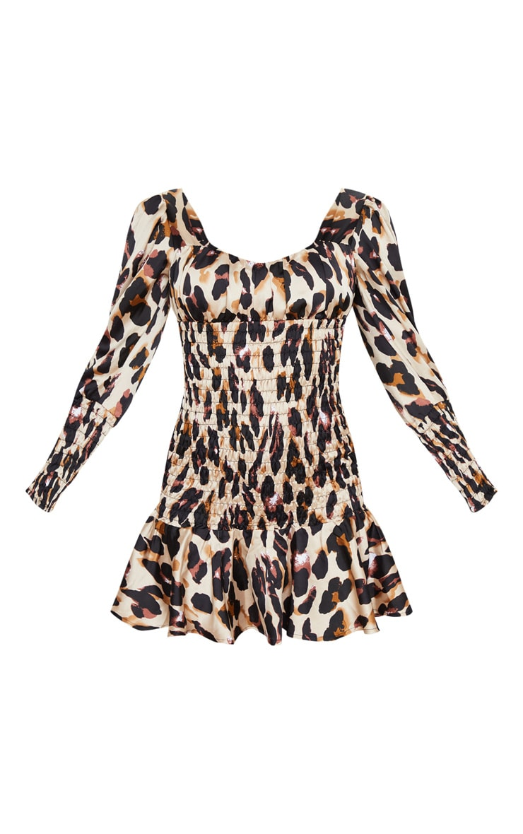 Brown Leopard Print Shirred Long Sleeve Bodycon Dress 3