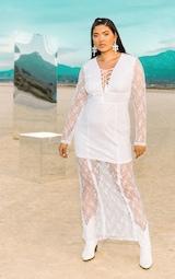 764dbded4f8 PLT Plus - Robe longue en dentelle blanche style bohème à laçage image 2