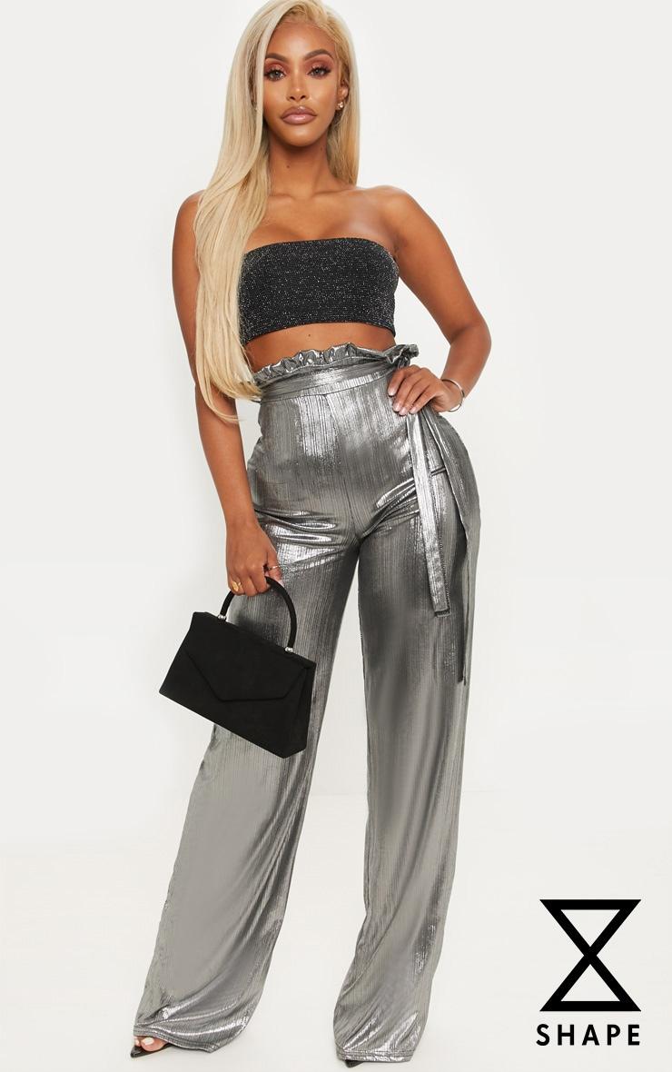 Shape - Pantalon paper bag argenté métallisé à jambes évasées 1