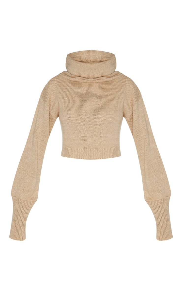 Camel Roll Neck Cropped Sweater 3