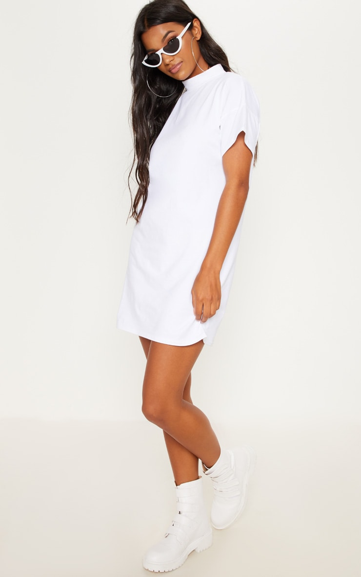 White High Neck Oversized T Shirt Dress 4