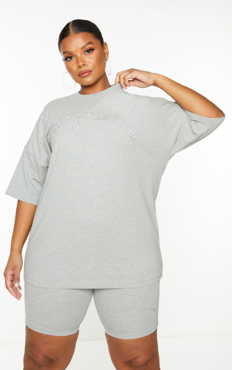 Plus Grey Embroidered Oversized Tshirt 1