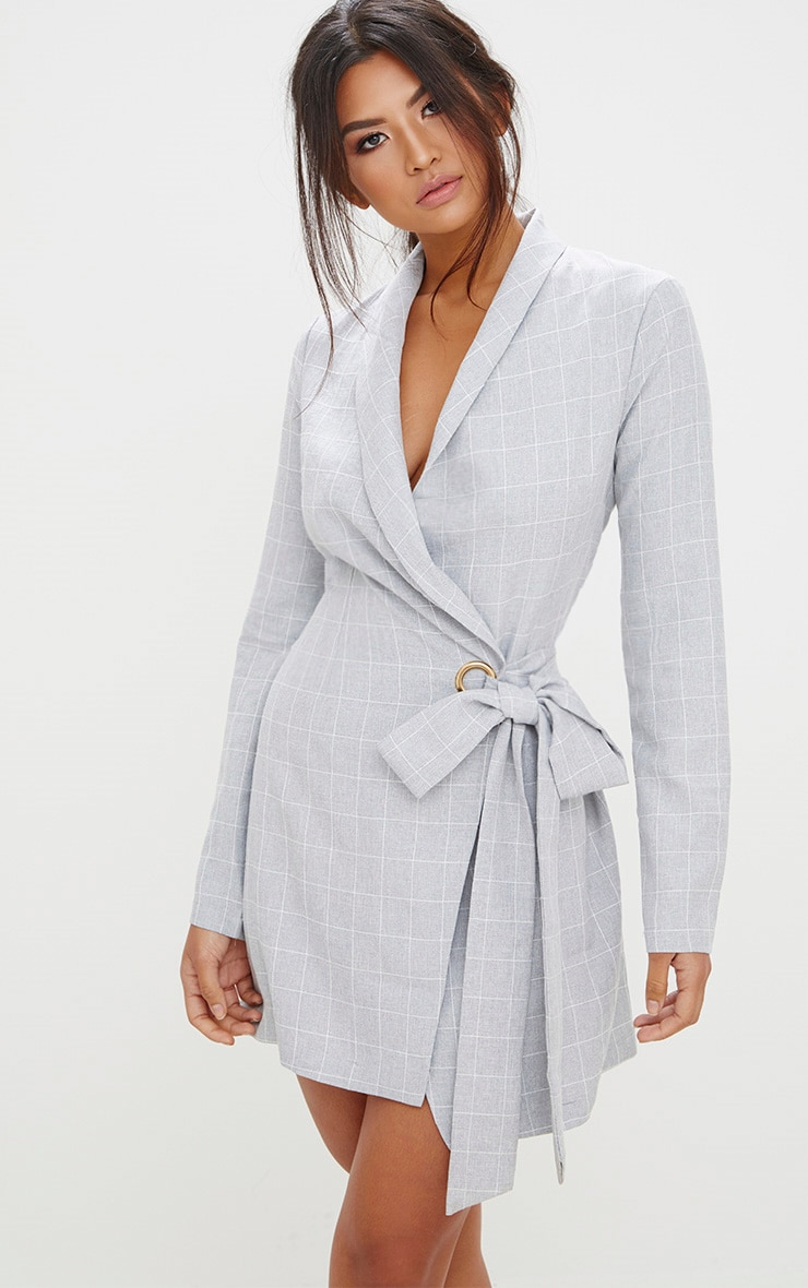 Grey Checked Blazer Dress