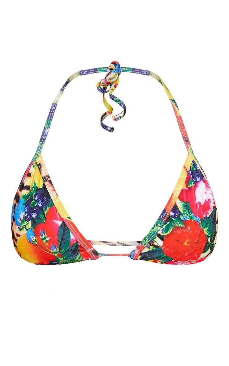 Wild Fruit Print Triangle Bikini Top 3