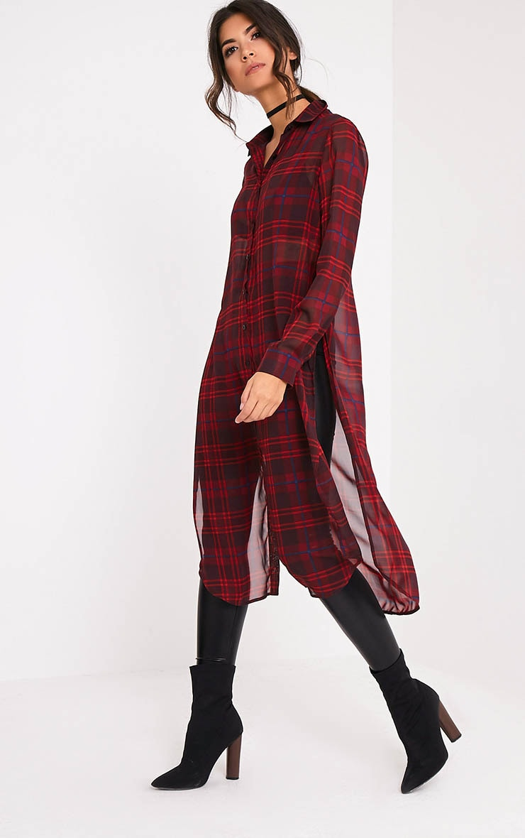 Leonie Red Soft Chiffon Check Longline Shirt 1