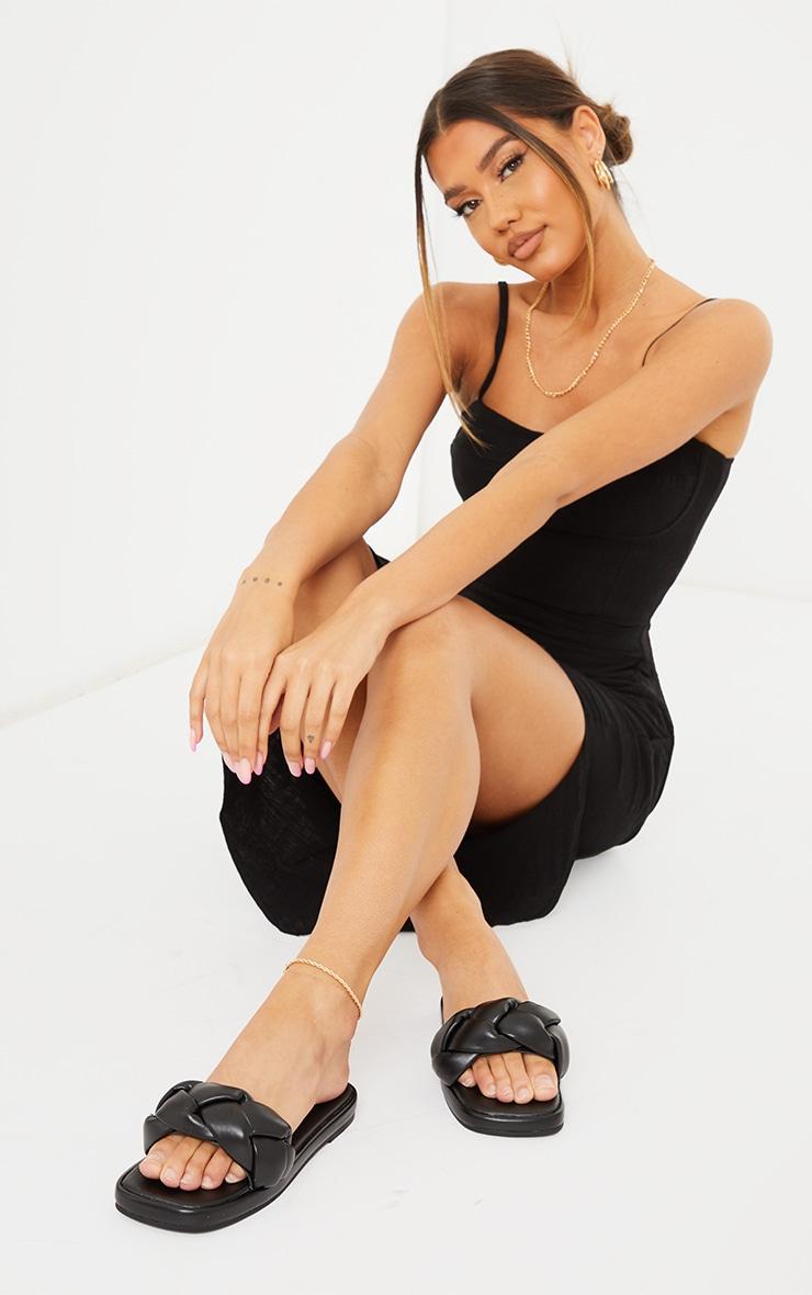 Black PU Padded Plait Square Toe Mule Flat Sandals 1