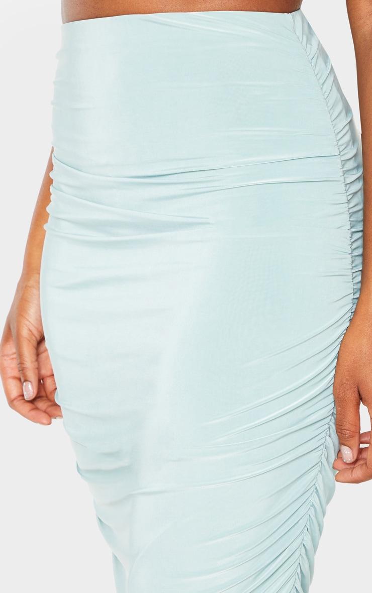 Mint Slinky Second Skin Ruched Midi Skirt 5