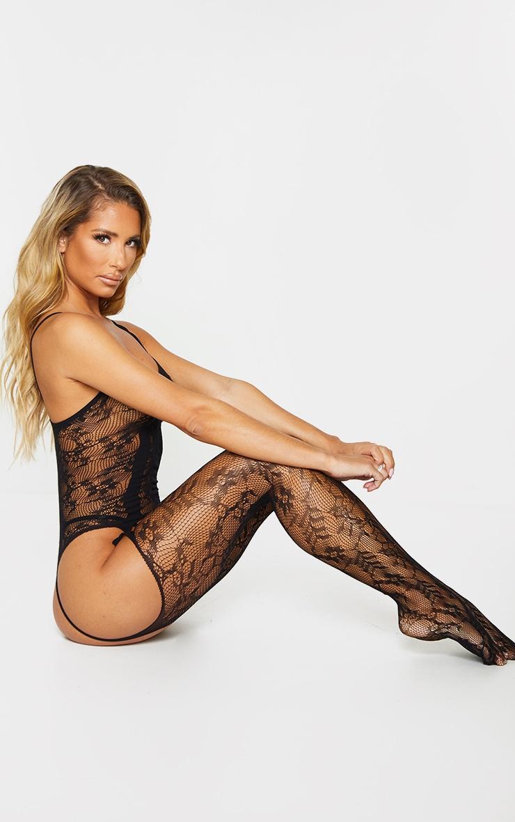 Black Lace Strappy Neck Suspender Body Stocking 3