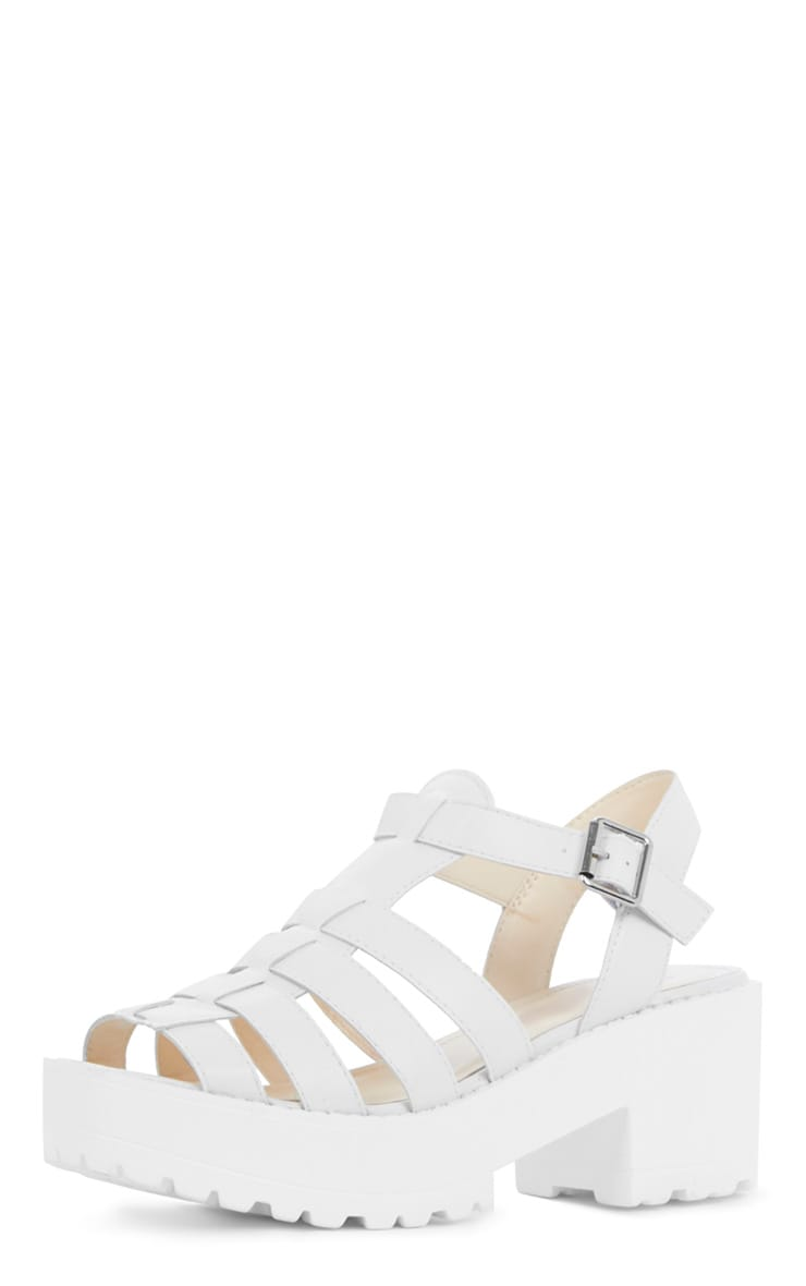 Nini White Cut Out Cleated Shoe 3