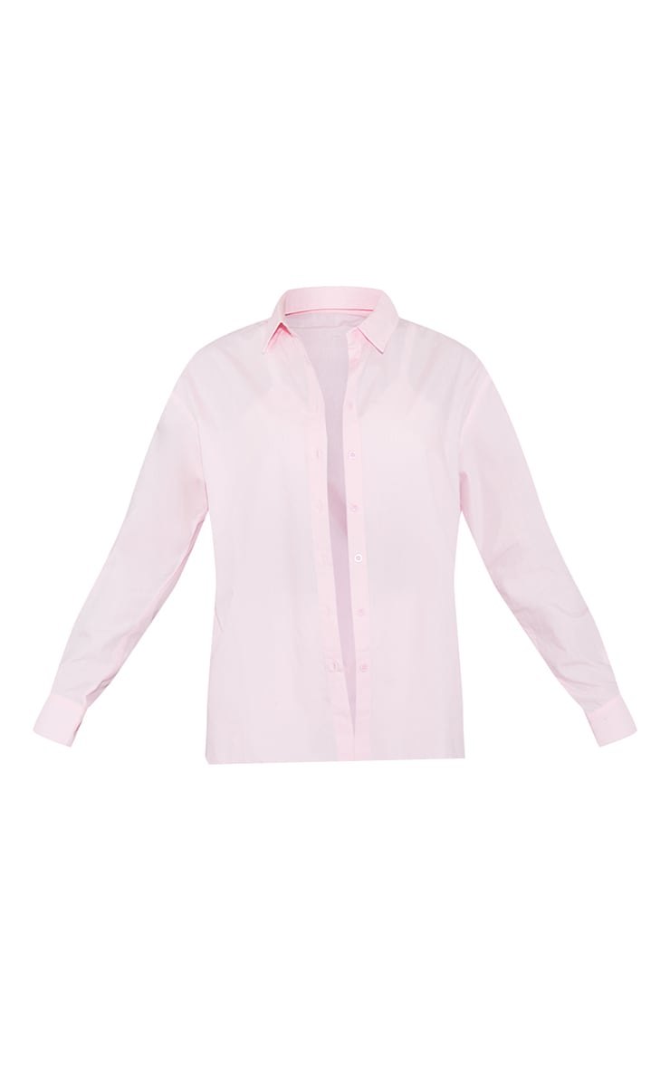 Baby Pink Button Cotton Oversized Shirt 5