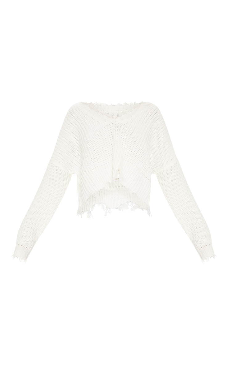 Cream Fringe Hem Knitted Sweater  3